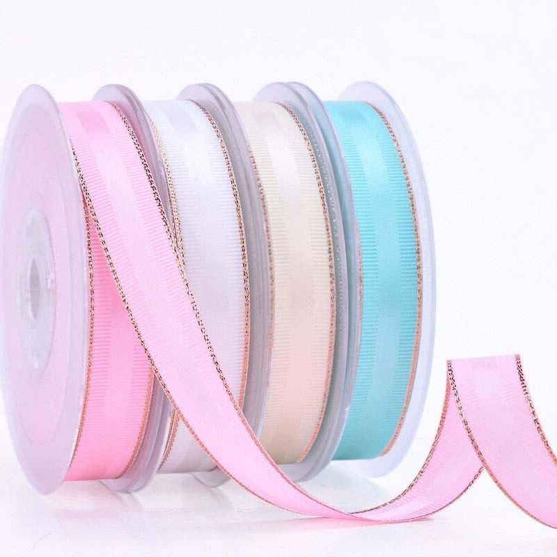 9 16 25 38 mm nuevo producto Rosa oro cinta 50 yardas phnom penh cinturón DIY mano arco material papel de regalo. Cinta de grogrén Phnom penh