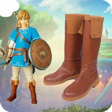 La légende de Zelda Link Cosplay chaussures bottes longues ensemble complet bande dessinée con Link Cosplay marron chaussures grande taille