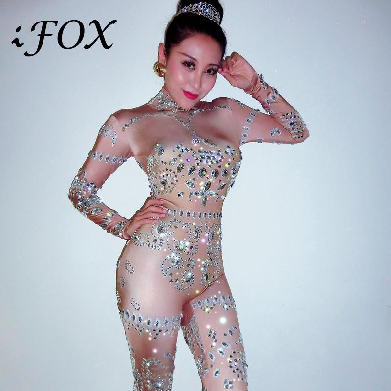 Sparkly Big Rhinestone Jumpsuit DJ Costume Female Singer Dancer One-piece Diamond  Bodysuit Celebrate Oufit Party Leggings