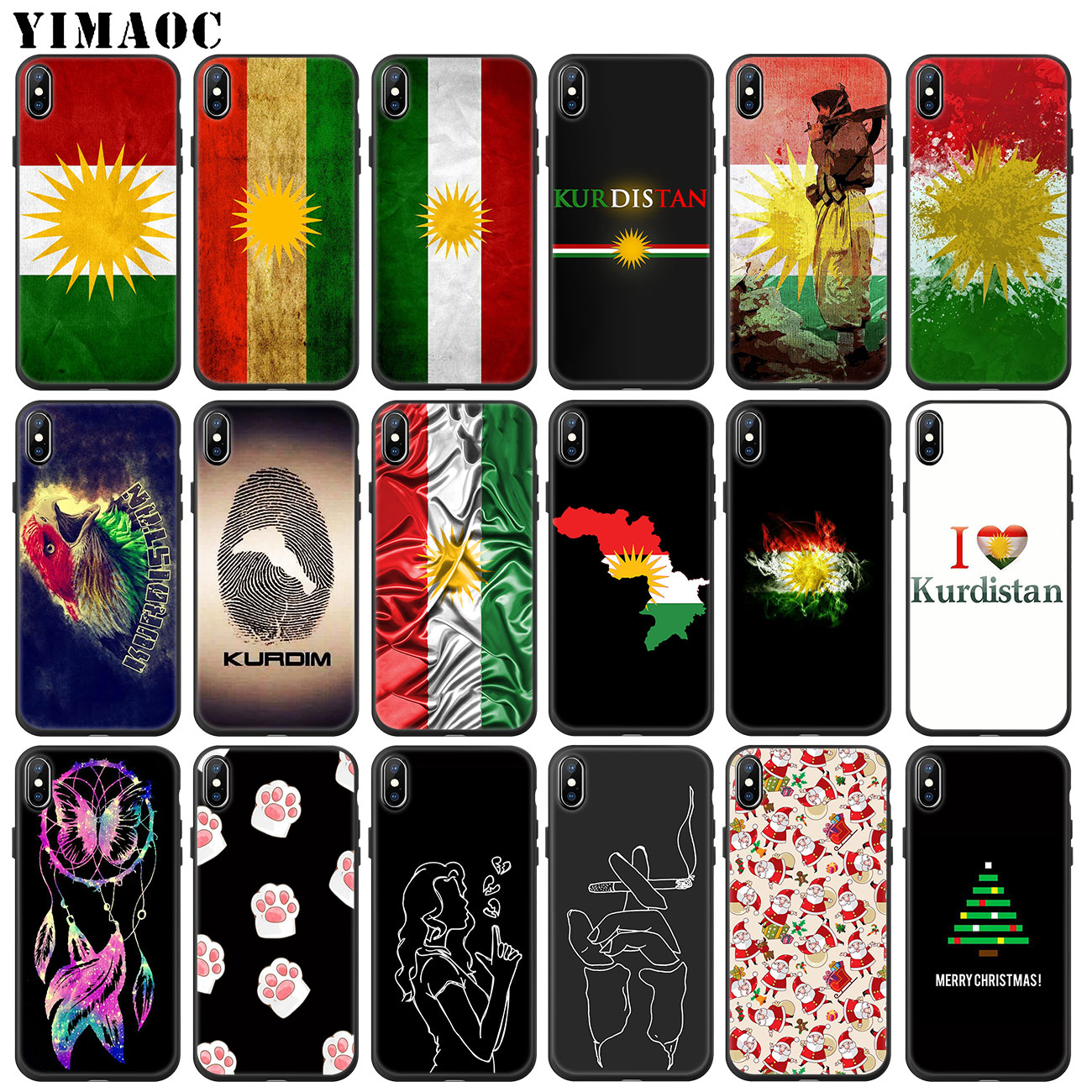 Funda de silicona suave con bandera regional kurda de YIMAOC para iPhone 11 Pro XS Max XR X 6 6S 7 8 Plus 5 5S SE 10 cubierta negra