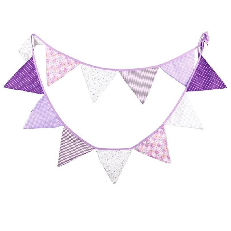 12 banderas, 3,2 m, banderín de barba de tela de algodón púrpura creativa, bandera para guirnalda, hogar, boda, ducha de bebé, suministros de decoración para fiesta