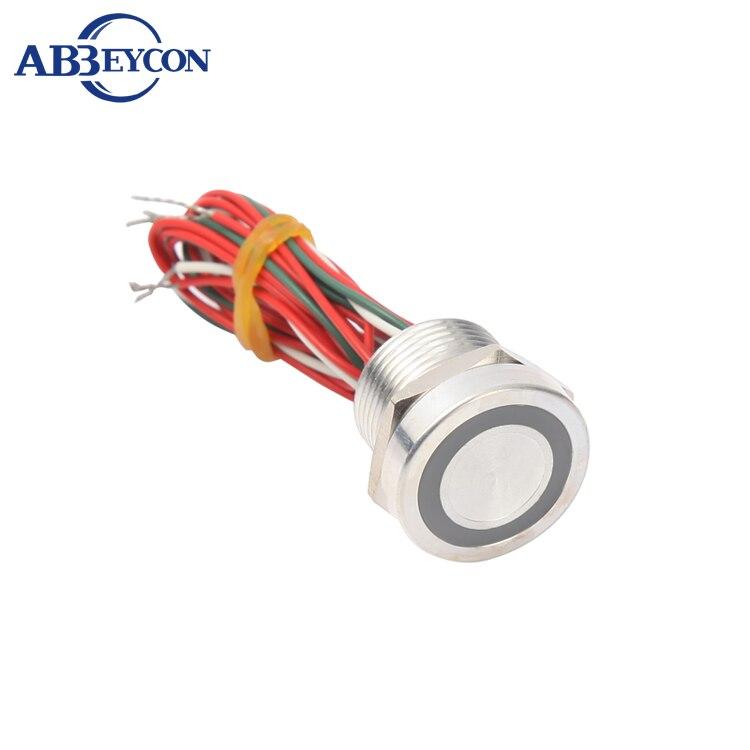 Abbeycon 12V 24V LED anillo iluminado amarillo rojo verde azul naranja 16mm IP68 sin cabeza plana impermeable con cable interruptor piezoeléctrico de plata