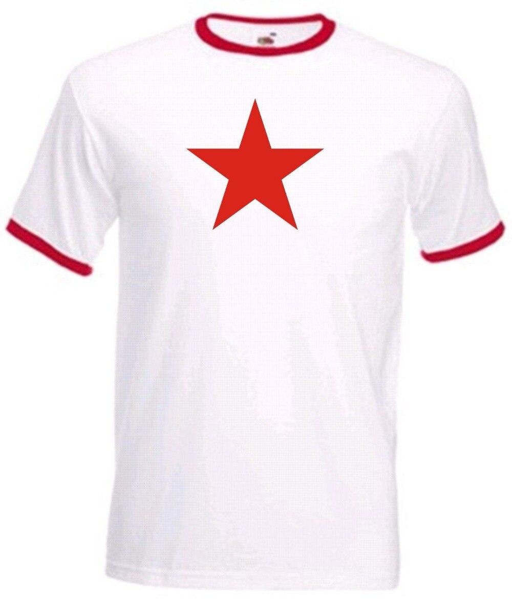 100% хлопок, летняя уличная футболка с круглым вырезом, красная звезда, футболист, ретро, Куба, Коммунистическая политика, Рингер, заказ, футболки