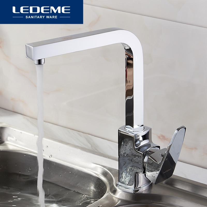 LEDEME النحاس الكروم مطلي المطبخ صنبور واحد صنبور الشرب تصفية المياه صنبور المطبخ الحنفية ل مطبخ بالوعة صنبور L4030-2