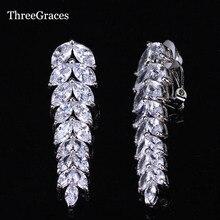 Брендовые элегантные серьги ThreeGraces, длинные серьги без отверстий с фианитом в форме листика каплевидной формы, ювелирные изделия для ушей ...