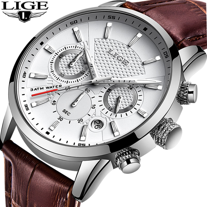 LIGE Mens Watches Gift Top Luxury Brand Waterproof Sport Watch Chronograph Quartz Military Genuine L