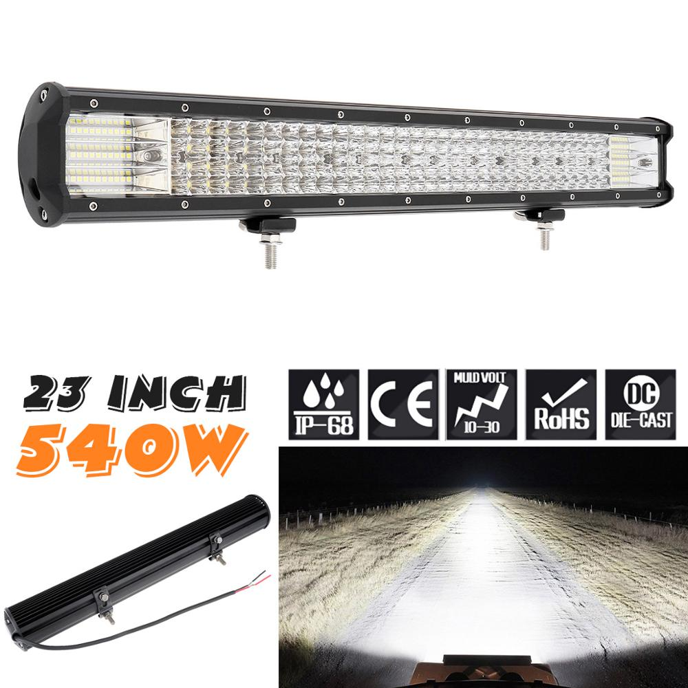 Tira de luces LED de 23 pulgadas, 540W, 180 Uds., barra de luz de trabajo, Combo Beam para conducir, barco, coche, Tractor, camión 4x4 SUV