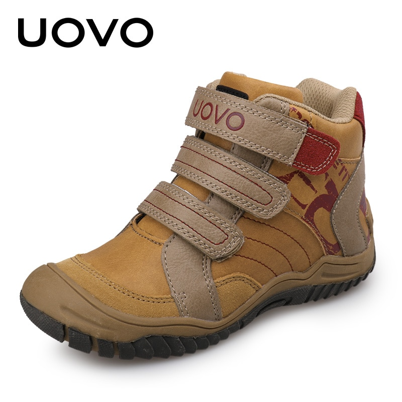 Leather Kids Sneakers EU26-36 Warm Anti-Slippery Fashion School Shoes Boys Sport Shoes Brand Uovo European Original Design