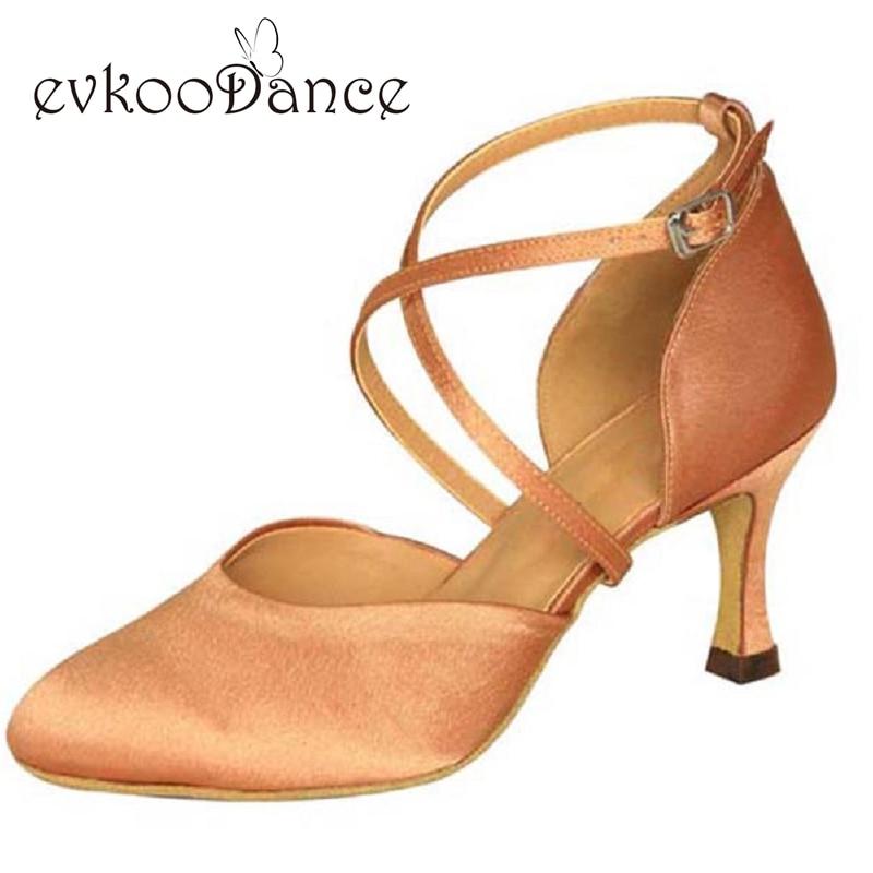Heel Height 7cm Zapatos De Baile Salsa Satin Brown Khaki Black Tan Size US 4-12 Comfort Ballroom Dance Shoes For Women NB020
