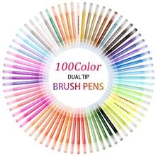 100 couleur double pinceau stylo Fineliner conseils dessin peinture aquarelle pinceau marqueur stylo à colorier fournitures scolaires