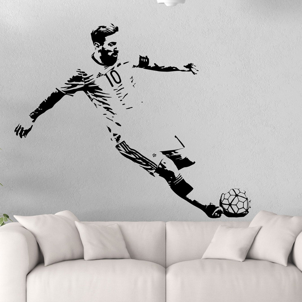 Messi football star sports wall stickers children's room bedroom waterproof stickers