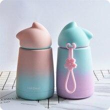 Cute Cat  Water Bottle Girl Woman Lovers Hot Stainless Steel Water Bottle Coffee Milk Cute Water Bottle Girl Drinkware