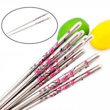 Pauzinhos de aço inoxidável com padrão de flor 5 pares minion chop sticks palitos palitos de metal acessórios de cozinha