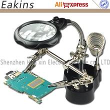 Pince de LED fer à souder support aidant mains loupe pince Crocodile SMD mains fer à souder support 3.5X 12X