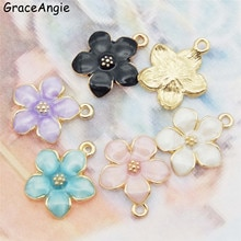 15 pçs mix esmalte flor encantos para brincos pingentes colar descobertas jóias artesanal artesanato diy pulseira dec 5 cores