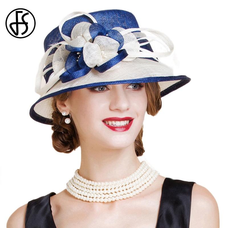 Женская шляпа с широкими полями FS, белая или синяя шляпа в английском стиле, для свадьбы, 2019