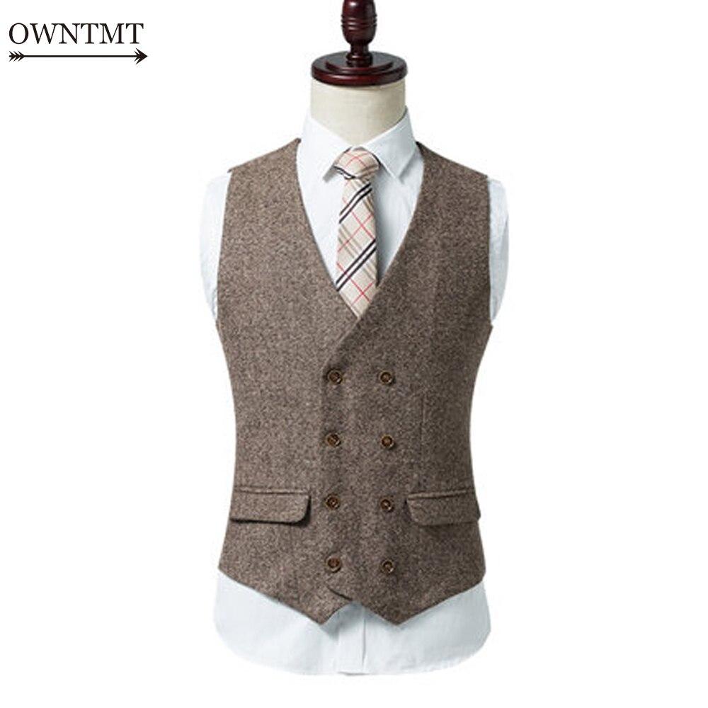 Chaleco de doble botonadura para hombre, traje de primavera para hombre, chaleco Formal de otoño para hombre, chaleco kaki para traje, Chaleco Ajustado para negocios, chaqueta, Tops para hombre