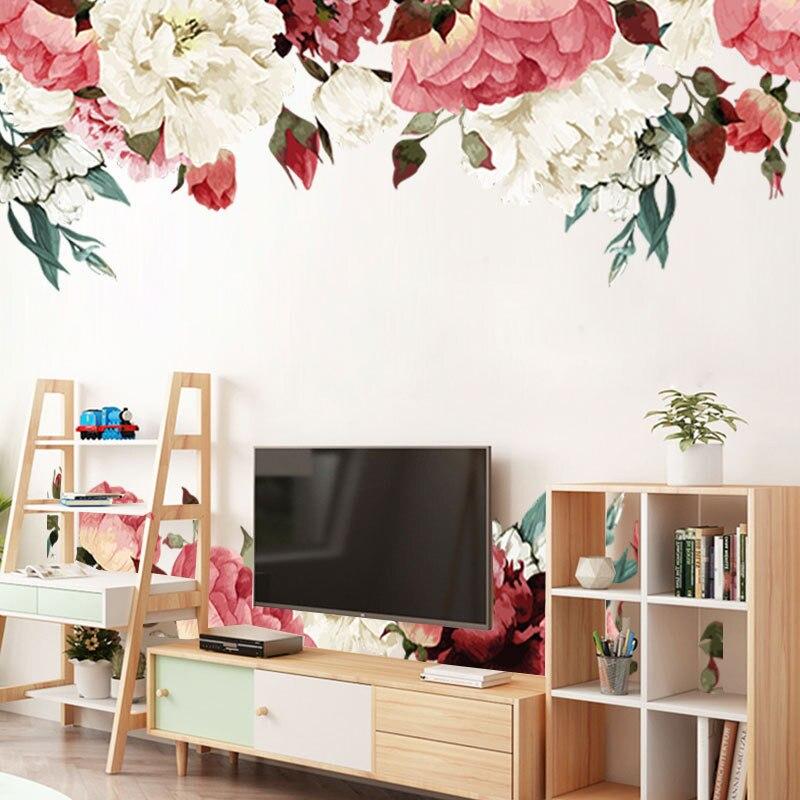 2 шт = 1 комплект 3D китайский Стиль наклейки Пион цветочный плинтус, для стен Стикеры для Гостиная Спальня мебель Наклейка на стену 45*60 см * 2