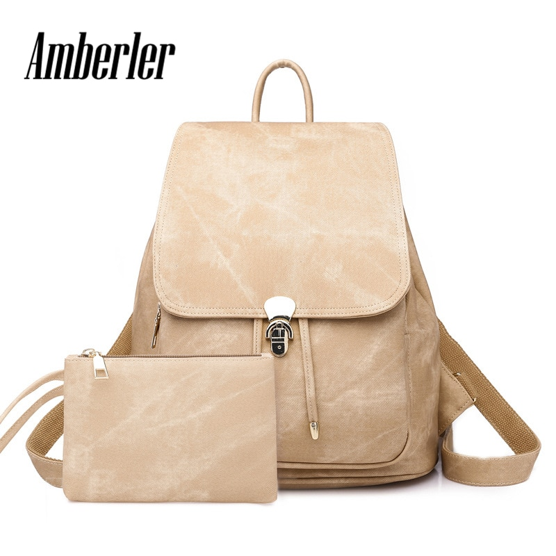 Amberler PU Leather Backpack Women Schoolbags High Quality Ladies Travel Laptop Backpacks Chirldren School Bags For Teenage Girl