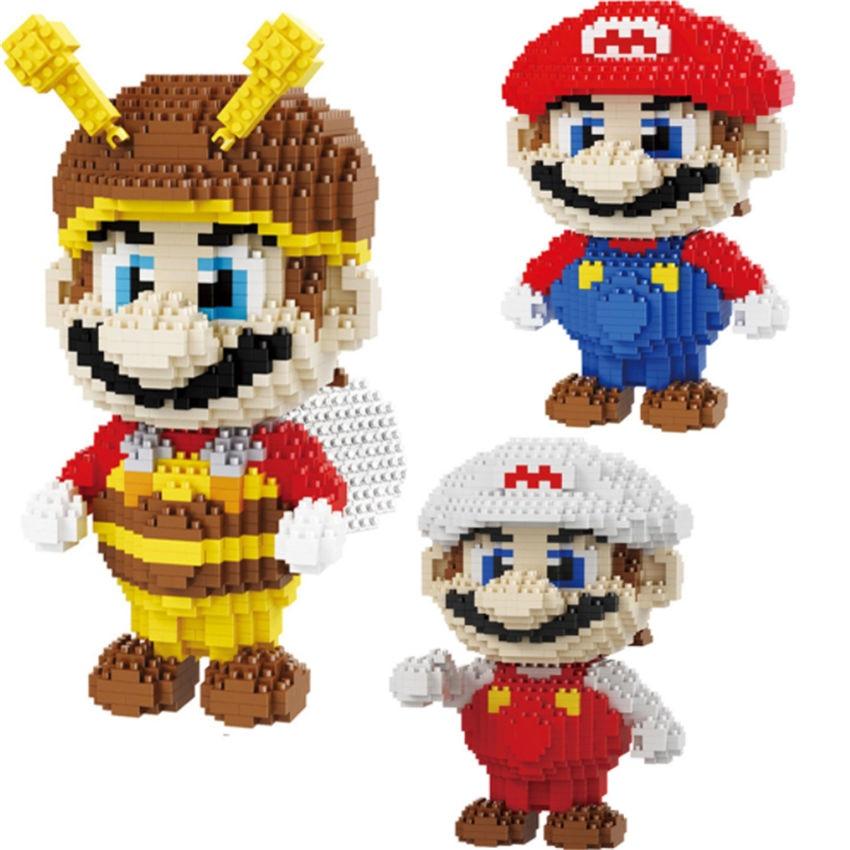 SJ videojuego Super Marioing Bee Marioing rojo blanco modelo en 3D de Luis marrón DIY mirco Diamond bloques de construcción de ladrillos de juguete de montaje