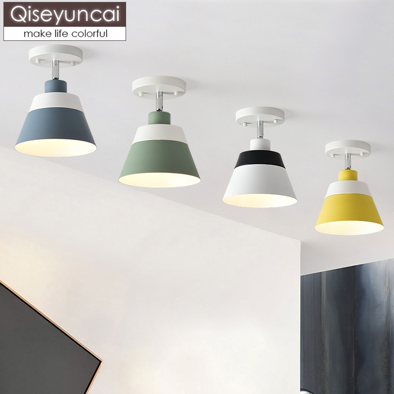 Qiseyuncai Nordic modern minimalist ceiling lamp color macaron corridor corridor aisle foyer lighting free shipping