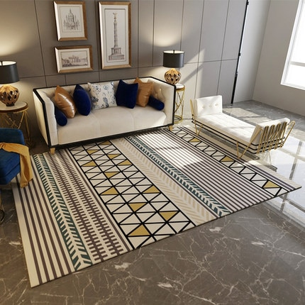 سجادة مستطيلة بنمط هندسي ، طراز إسكندنافي حديث بسيط ، لغرفة المعيشة ، طاولة القهوة ، غرفة النوم
