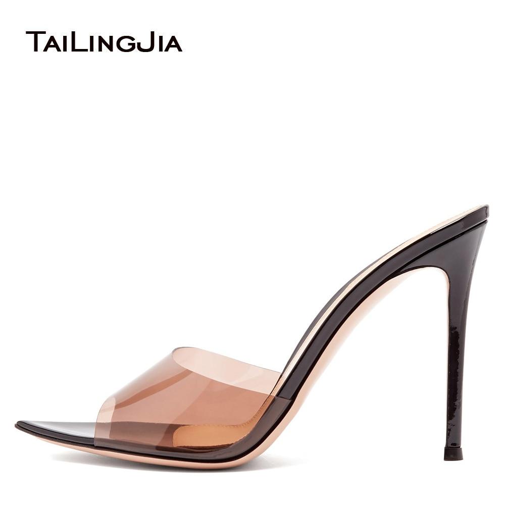 حذاء نسائي بكعب عالٍ ومثير ، حذاء شفاف بمقدمة مدببة ومفتوحة ، سهل الارتداء ، بولي كلوريد الفينيل ، لون اللحم ، عصري