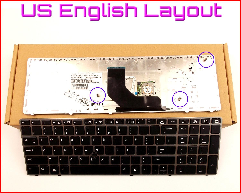 Новая клавиатура США Английская версия для ноутбука HP EliteBook 8560P 8570P 701988-001 55010LP00-515-G с серебряной рамкой и указателем