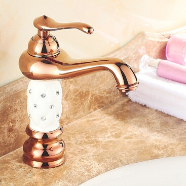 Christmas Rose Gold Diamond Lantern Brass Bathroom Vanity Sink / Basin Torneira Banheiro Cozinha Faucets Mixers Taps (UP-1314S)