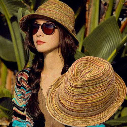 Chapéu de palha chapéu de palha chapéu de palha chapéu de sol dobrável listrado trançado corda tampão de balde chapéus de sol de palha para mulher