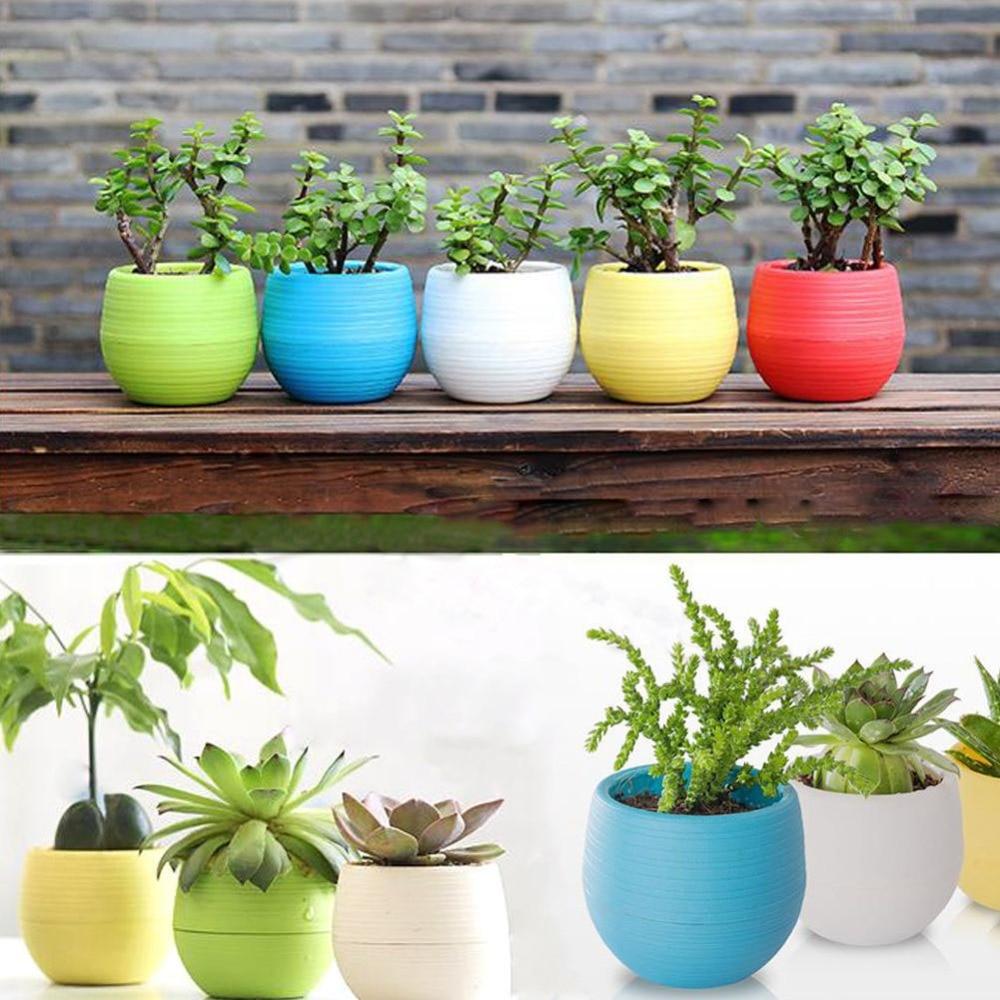 Maceta colorida de plástico con forma de arcoíris para hogar, oficina, jardín, balcón, plantas suculentas, tiestos de escritorio, maceta pequeña creativa # D2