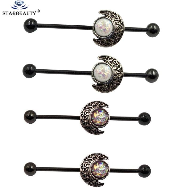 2 unids/lote, forma de luna con gema de ópalo, andamio de acero inoxidable, barra larga, barra recta, gemas, pendiente de perforación Industrial