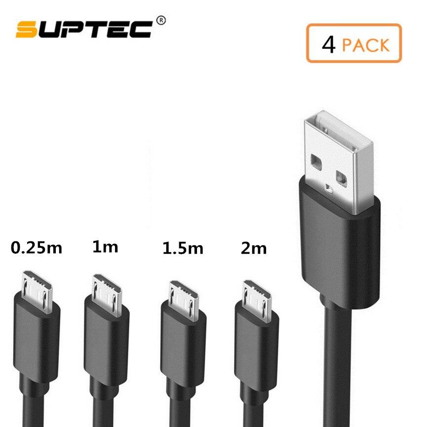 SUPTEC-Paquete de 4 cables Micro USB de carga rápida, Cable de sincronización...
