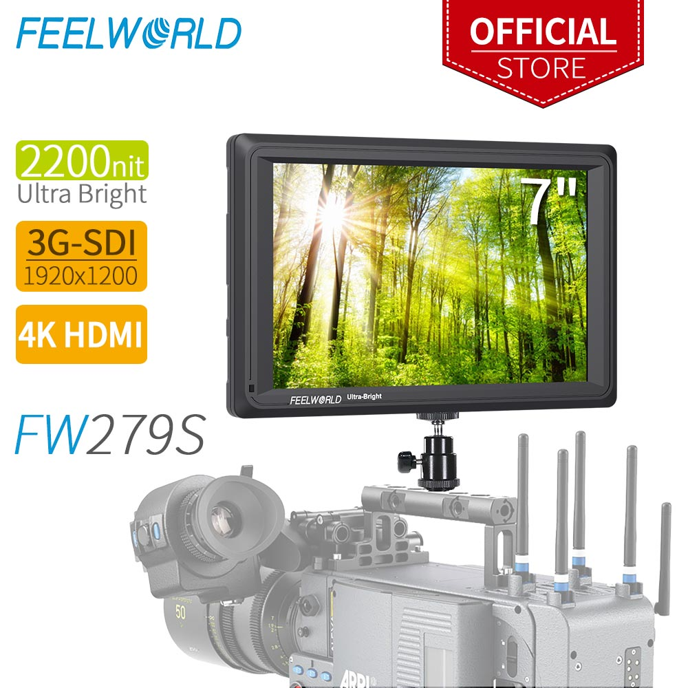 FEELWORLD FW279S 7 дюймов 2200nit дневной свет видимый 3G-SDI Mini HDMI на камеру DSLR полевой монитор 4K HDMI 1920X1200 для наружного применения