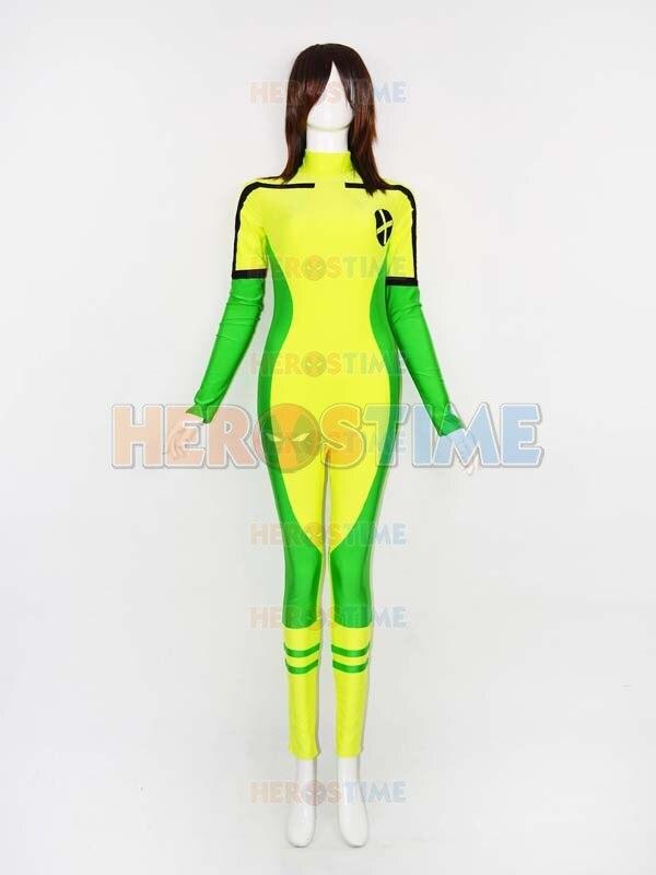 X-men costume  Newest Hot X-men Rogue Spandex Superhero Costume Halloween cosplay party zentai suit free shipping