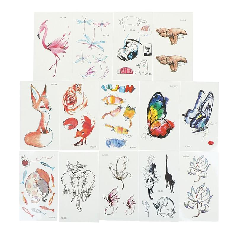 1 pieza extraíble mariposa zorro oso Animal patrón mujer chica arte corporal pegatina de belleza temporal tatuaje impermeable pegatina tatuaje
