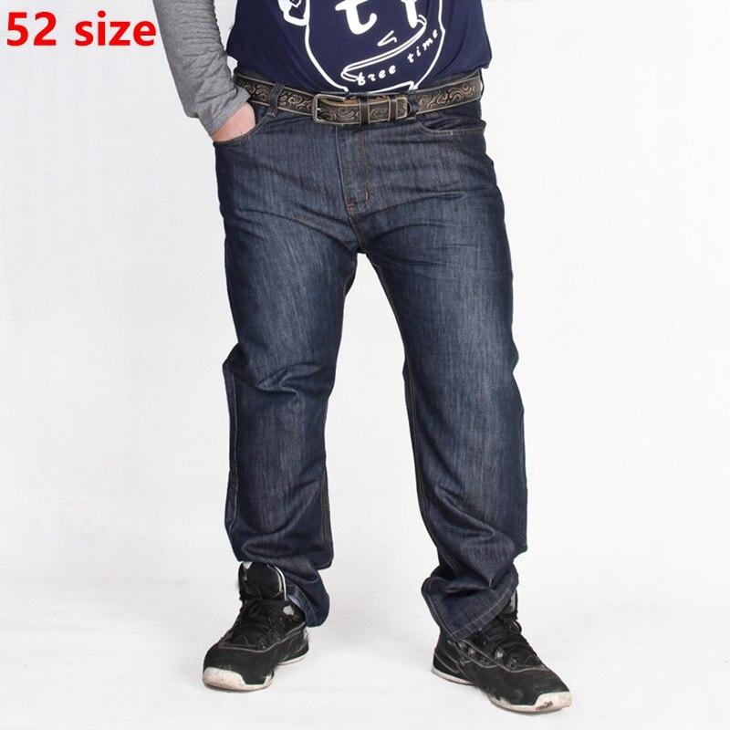 Plus size spring and autumn seasons straight jeans men leisure trousers pants men fat XXL add fertilizer increased