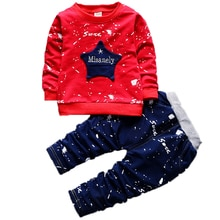 Recién llegado, conjunto de ropa para bebés y niños, camiseta de manga larga con letras de estrellas + Pantalones largos, ropa para niños, conjunto de ropa de grafiti para niñas