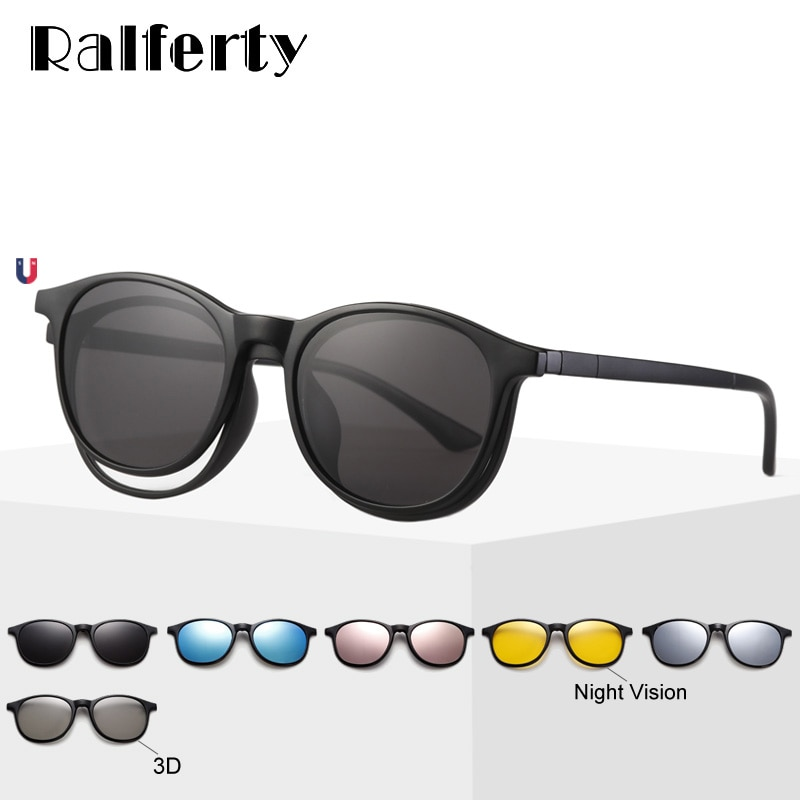 Ralferty 6 In 1 Magnet Sonnenbrille Frauen Polarisierte Brillen Rahmen Mit Clip Auf Gläser Männer Runde UV400 TR90 3D Gelb oculo A2245