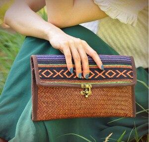 HOT ! Original Thailand pure handmade Bamboo Rattan Weave woman handbags Fashion vintage Brass lock buckle envelope bags
