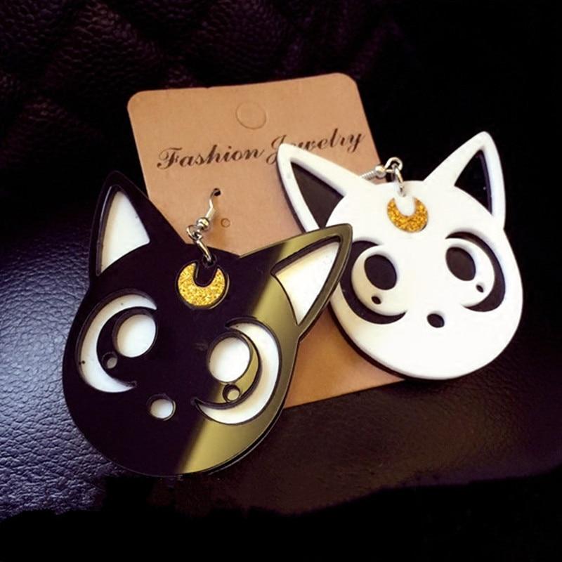 AOMU Cartoon Harajuku Anime Sailor Moon Luna Black Cat Dangle Earrings Lovely Cosplay Drop Earrings  Acrylic Jewelry for Women