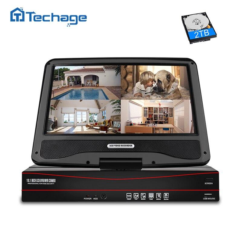"Techage 8CH 1080P 48V NVR POE 10,1 ""Pantalla de monitor LCD vmeyesuper de 802.3af P2P ONVIF red grabadora de vídeo para 2MP cámara IP POE"