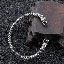 Vikings lobo pulseiras de aço inoxidável para as mulheres masculino acessórios viking pulseira de homens pulseiras de punho bangles adolescente lobo
