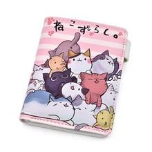 เกมอะนิเมะ Neko Atsume PU หนังนักเรียนกระเป๋าสตางค์ Cat Backyard น่ารักสั้นกระเป๋าสตางค์