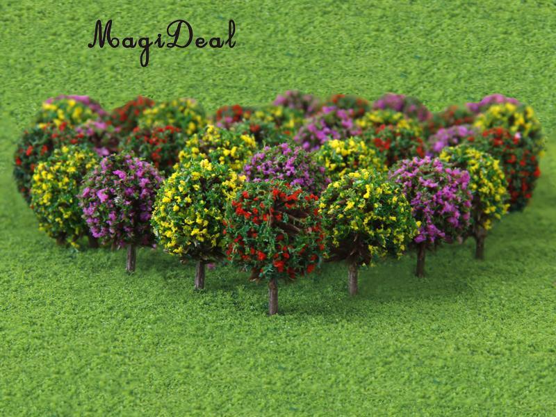 MagiDeal 30 unids/lote 3 colores mezclados modelo de flor tren árboles en forma de bola de paisaje escala 1/100 por ferrocarril carretera juguete