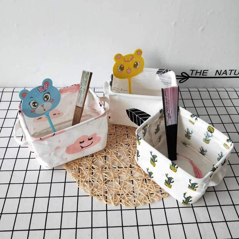 Ins-bolsa de almacenamiento plegable con dibujos animados para niños, cestas organizadoras de...