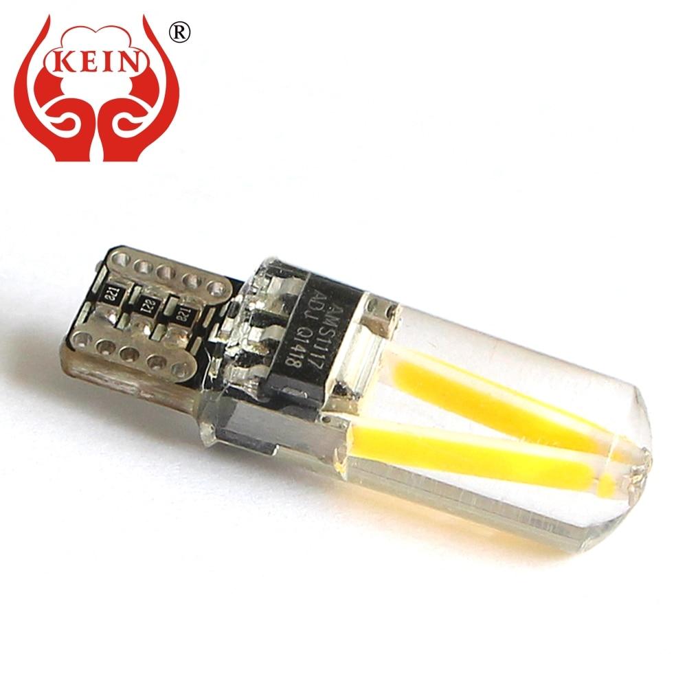 KEIN, 10 шт., Canbus, светодиодные автомобильные лампы T10 w5w 194, силиконовые габаритные огни COB, лампы для интерьера, чтения, Купольные задние лампы DRL ...