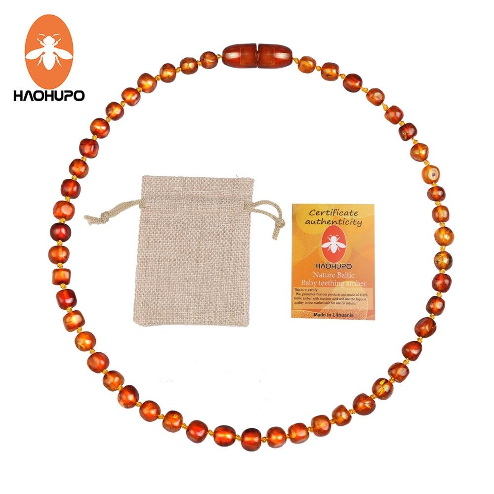 Hao Hu Po classique Original collier de dentition en ambre de la baltique fermoirs de fil de fer certificat sûr et Durable avec sac de Jute