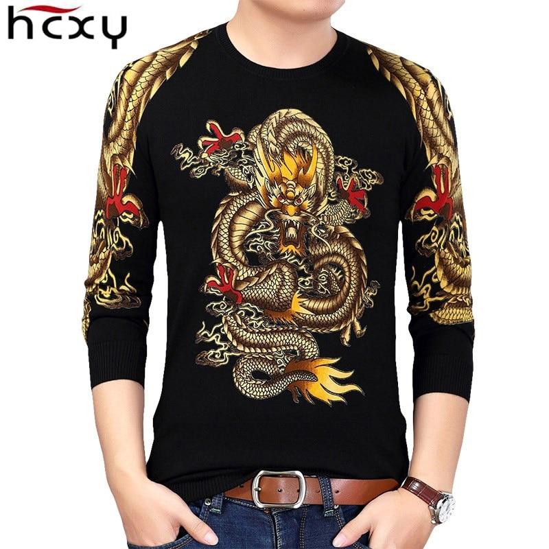 HCXY 2021 الشتاء النمط الصيني الذهب التنين طباعة البلوز البلوزات الرجال محبوك سترة الذكور جودة محبوك ماركة الذكور البلوزات