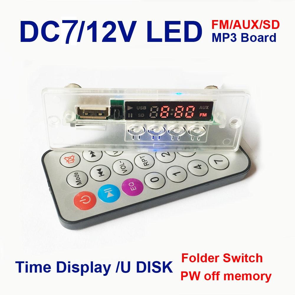 12V MP3 placa decodificadora de audio Digital LED control remoto TF usb FM radio